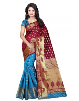Traditional Wear Firozi Mazanta Banarasi Silk Saree  - 20188