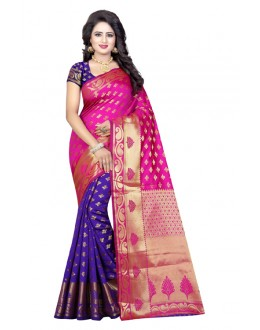 Ethnic Wear Pink & Blue Banarasi Silk Saree  - 20189