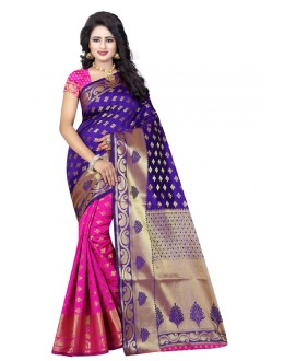 Festival Wear Pink & Purple Banarasi Silk Saree  - 20190