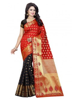 Traditional Wear Black & Red Banarasi Silk Saree  - 20192