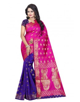 Traditional Wear Pink & Blue Banarasi Silk Saree  - 20196