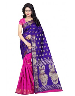 Ethnic Wear Pink & Blue Banarasi Silk Saree  - 20197