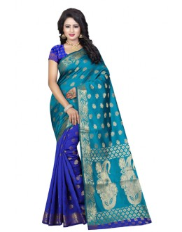 Festival Wear Rama Blue Banarasi Silk Saree  - 20198