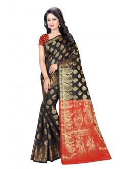 Traditional Wear Black & Red Banarasi Silk Saree  - 20199