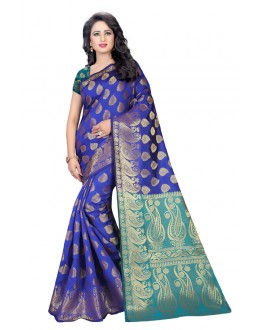 Wedding Wear Rama Blue Banarasi Silk Saree  - 20200
