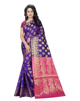 Festival Wear Pink & Purple Banarasi Silk Saree  - 20204