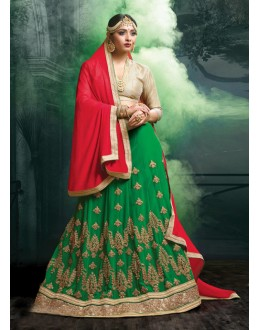 Festival Wear Faux Georgette Green Lehenga - 20467