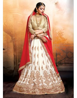 Party  Wear Faux Georgette White Lehenga - 20476