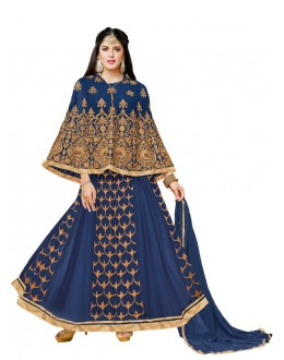 Party Wear Blue Georgette Cape Anarkali Suit - 20512