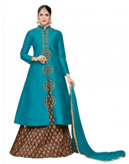 Traditional Wear Blue Taffeta Silk Lehenga - 20514