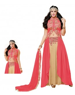 Ethnic Wear Pink & Beige Rayon Crop Salwar Suit - 20515