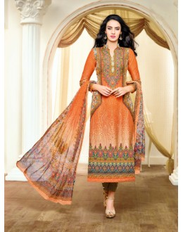 Ethnic Wear Multicolour Satin Cotton Salwar Suit - 20697