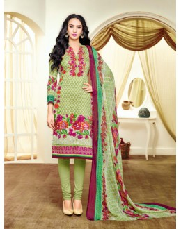 Casual Wear Multicolour Satin Cotton Salwar Suit - 20699
