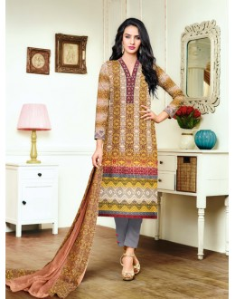 Ethnic Wear Multicolour Satin Cotton Salwar Suit - 20701