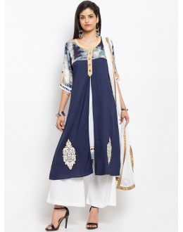 Ethnic Wear Readymade Blue Salwar Suit  - 20941