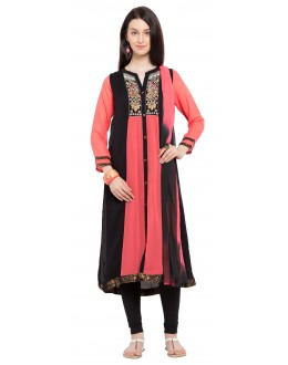 Ethnic Wear Readymade Pink Georgette Indo Western Suit  - 21263