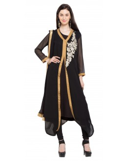 Casual Wear Readymade Black Georgette Indo Western Suit  - 21265