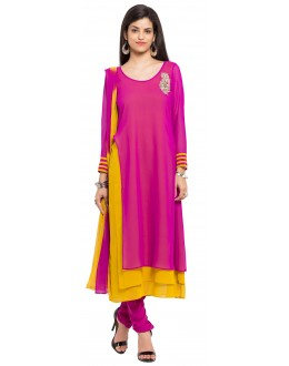 Traditional Wear Readymade Pink Georgette Indo Western Suit  - 21268