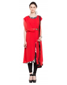 Casual Wear Readymade Red Georgette Indo Western Suit  - 21269
