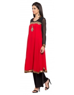 Party Wear Readymade Red Georgette Indo Western Suit  - 21271