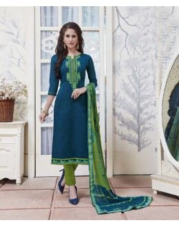 Wedding Wear Green Blue Cotton Jaquard Salwar Suit - 21273