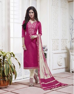 Ethnic Wear Pink Cotton Jaquard Salwar Suit - 21276