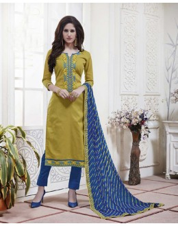 Festival Wear Deep Yellow Cotton Jaquard Salwar Suit - 21277