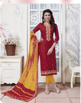 Casual Wear Maroon Cotton Jaquard Salwar Suit - 21278