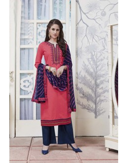 Wedding Wear Light Pink Cotton Jaquard Salwar Suit - 21280