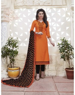 Festival Wear Orange Cotton Jaquard Salwar Suit - 21281