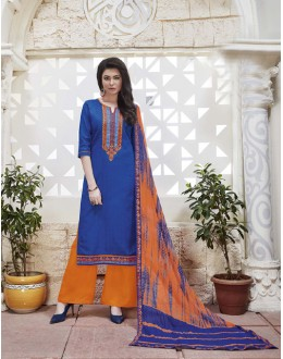 Ethnic Wear Deep Blue Cotton Jaquard Salwar Suit - 21282
