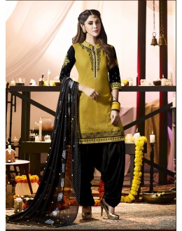 Casual Wear Deep Yellow Cotton Salwar Suit - 21284
