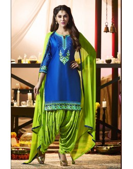 Traditional Wear Blue Cotton Salwar Suit - 21285