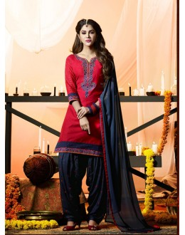 Traditional Wear Pink Cotton Salwar Suit - 21290