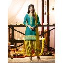 Festival Wear Sky Green Cotton Salwar Suit - 21292