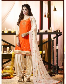 Traditional Wear Orange Cotton Salwar Suit - 21293