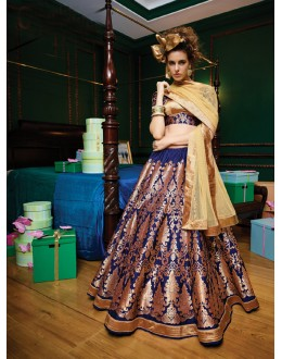 Party Wear Navy Blue Brocket Lehenga - 21309