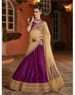 Wedding Wear Wine Banarasi Silk Lehenga - 21313