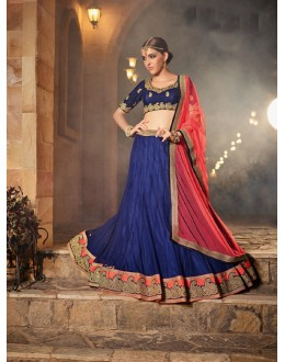 Party  Wear Navy Blue Soft Net Lehenga - 21314
