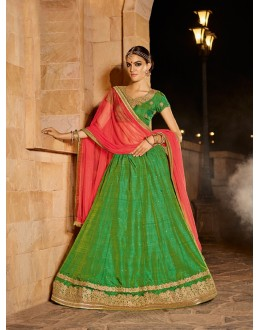Party Wear Green Banarasi Silk Lehenga - 21319