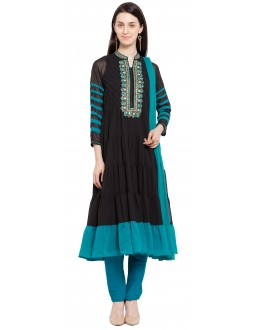 Party Wear Readymade Black Faux Georgette Salwar Suit  - 21331