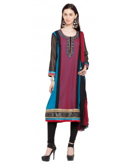Traditional Wear Readymade Multi Colour Faux Georgette Salwar Suit  - 21334