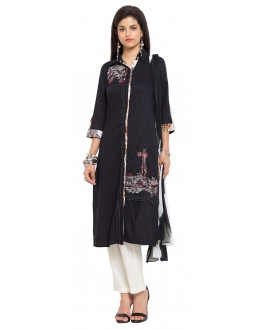 Casual Wear Readymade Black Cotton Salwar Suit  - 21337