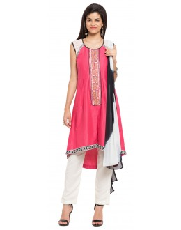 Ethnic Wear Readymade Pink Cotton Salwar Suit  - 21338