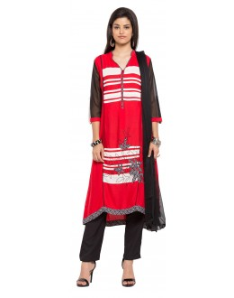 Festival Wear Readymade Red Cotton Salwar Suit  - 21339