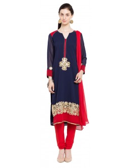Festival Wear Readymade Blue Faux Georgette Salwar Suit  - 21341