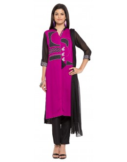 Wedding Wear Readymade Purple Faux Georgette Salwar Suit  - 21343