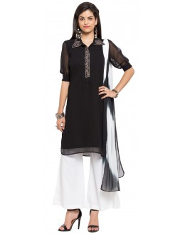 Casual Wear Readymade Black Faux Georgette Salwar Suit  - 21357