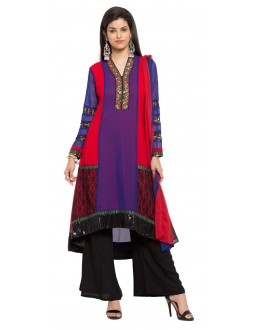 Wedding Wear Readymade Royal Blue Faux Georgette Salwar Suit  - 21360