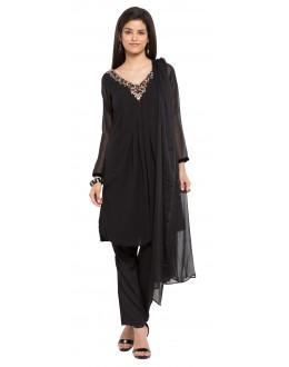 Party Wear Readymade Black Faux Georgette Salwar Suit  - 21363